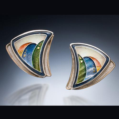 Indian Summer Earrings, Cloisonne Enamel Jewelry by Shiela Beatty