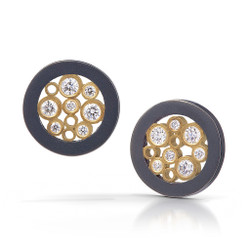 Floating Diamond Stud Earrings, Handmade Contemporary Jewelry by Belle Brooke Barer