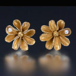 Carol Salisbury's One-of-a-Kind Daisy Earrings with Pearls | Handmade Designer Jewelry