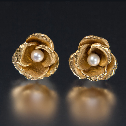 Carol Salisbury's One-of-a-Kind Rosebud and Pearl Earrings | Handmade Designer Jewelry