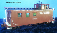 On3 D&RGW Peak Roof Long Caboose Kit Double Window Cupola