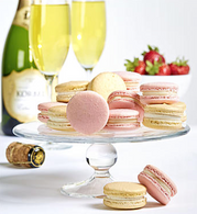 Champagne w/Strawberry & Vanilla Macarons