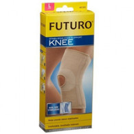 Features:  Helps provide reliable support to weak or injured knees Breathable, dual-stretch power knit material for comfort Comfort panel reduces bunching behind the knee Wear during activities which lead to discomfort Sizing: Knee Brace Futuro® Comfort Lift™ Small 12 to 14-1/2 Inch Circumference Left or Right Knee   Knee Brace Futuro® Comfort Lift™ Medium 14-1/2 - 17 Inch Left or Right Knee   Knee Brace Futuro® Comfort Lift™ Large 17 - 19-1/2 Inch Left or Right Knee