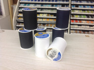 100% polyester covered polyester thread. 400 yard spools.