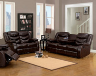 CLARISSE 2 PIECES BROWN LEATHER RECLINER SOFA SET (SOFA & LOVE SEAT)