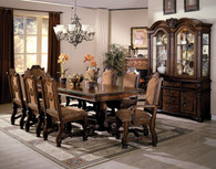 Neo Renaissance Dining Table Top and Double Pedestal Base with 4 Side Chairs