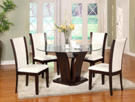 Camelia Round 5 PCS Dining Table - Espresso & White