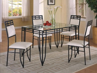 Matrix Dinette Table Base, Glass Top, 4 Side Chairs