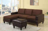 ALL-IN-ONE SECTIONAL IN CHOCOLATE/FAUX LEATHER (F7291)