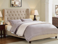 MAYES QUEEN BED - BEIGE TUFTED - 5269-Q-HBFB