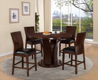 DARIA COUNTER HEIGHT  ROUND DINING TABLE TOP (5PC SET)- ESPRESSO