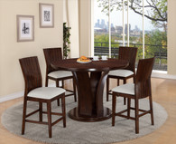 DARIA COUNTER HEIGHT ROUND DINING TABLE TOP (5PC SET)- WHITE