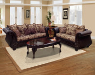 Isabella Monte Cristo Wine 2PCs Living Room Set (Sofa and Loveseat)