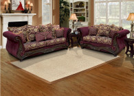 Isabella Wine 2PCs Living Room Set (Sofa and Loveseat)