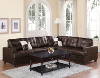 2-PCS SECTIONAL SET W/2 ACCENT PILLOWS-ESPRESSO
