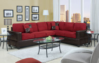 2-PCS SECTIONAL/RED MICROFIBER AND FAUX LEATHER