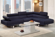 2-PCS SECTIONAL SOFA IN BLENDED LINEN  DARK BLUE