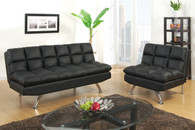 ADJUSTABLE SOFA FAUX LEATHER/BLACK