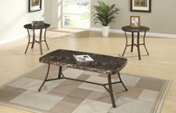 3PCS COFFEE TABLE SET IN FAUX MARBLE  BRONZE