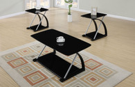3-PCS COFFEE TABLE SET IN BLACK GLASS  SILVER
