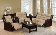 3PCS  SET RECLINER IN MICROFIBER+PU-HAZELNUTCHOCO