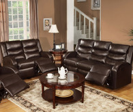 ROCKER RECLINER 2PC SOFA AND LOVESEAT  IN BONDED LEATHER/ESPRESSO