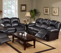 ROCKER RECLINER 2PC SOFA AND LOVESEAT/BONDED LEATHER-BLACK