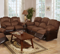 ROCKER RECLINER 2PC SOFA AND LOVESEAT  IN MICROFIBER+PU-CHOCOLATE