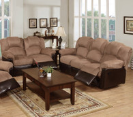ROCKER RECLINER 2PC SOFA AND LOVESEAT IN MICROFIBER+PU-SADDLE/CHOCO
