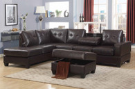 3 PCS Brown Leather Sectional With Drop Down Cup Holder