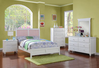 BED W. INTER CHANGE HB PANEL WHITE/PINK