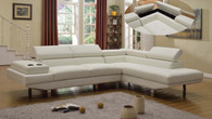 MODERN 2 PCS WHITE BONDED LEATHER SECTIONAL