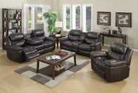 MAYORCA COLLECTION 3 PCS RECLINER SET WITH STORAGE COMPARTMENT AND CUP-HOLDER IN BROWN