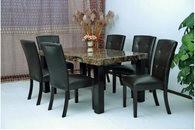 Black Cream Brown Marble Top Dining Table with Black Glossy Leather Chair