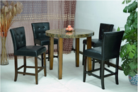 Black Cream Brown Marble Round Top Dining Table with Black Glossy Leather Chair