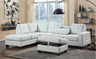 2 PCS White Leather Sectional With Drop Down Cup Holder