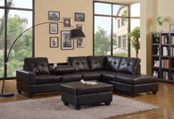 2 PCS Black Leather Sectional With Drop Down Cup Holder