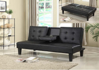Black Bonded Leather Drop Down Cup Holder Futon