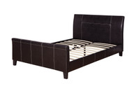 Espresso Brown Leather Platform Sleigh Bed (No Boxspring Required)