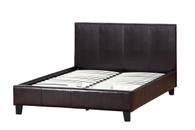 Espresso Leather Upholstered Platform Bed