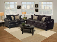 Eleanor 2 Pcs Sofa & Loveseat Fabric Jamba Fudge