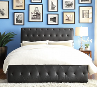 BALDWYN BLACK LEATHER TUFTED PLATFORM BED