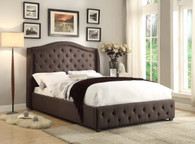 Button Tufted Linen Upholstered Bed in Grey
