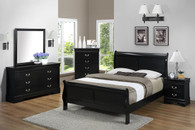Louis Phillip 7Pcs Bedroom Suite - Black