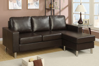 2PC SECTIONAL SOFA ESPRESSO FAUX LEATHER