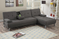 ADJUSTABLE SECTIONAL SOFA 2PC SOFA AND CHAISE SLATE POLYFIBER (LINEN-LIKE FABRIC)