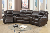 5PC RECLINING HOME THEATER SECTIONAL SET IN BROWN COLOR