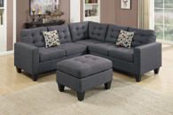 4PC MODULAR SECTIONAL W/ 2 ACCENT PILLOWS IN BLUE GREY COLOR