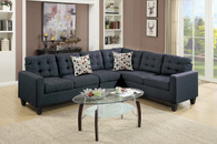 4PC MODULAR SECTIONAL W/ 2 ACCENT PILLOWS IN BLACK COLOR