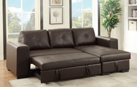 2PC CONVERTIBLE SECTIONAL w/PULL-OUT BED IN ESPRESSO BROWN BONDED LEATHER